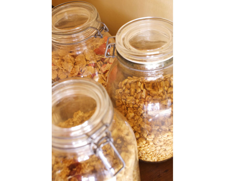 Kellogs Cornflakes, Granola and other cereals, or try the fresh bread.
