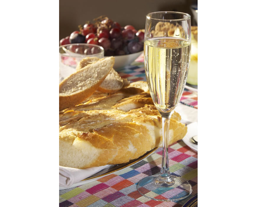 Cava-Champagne is served at breakfast but is not compulsary.